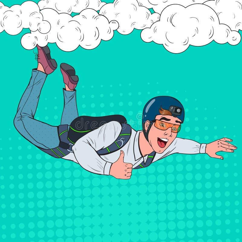 Popet Art Businessman Flying med hoppa fallskärm Lycklig manfallskärmshoppareSkydiver i luften royaltyfri illustrationer