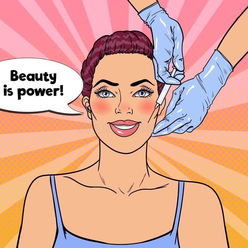 Popet Art Young Woman får skönhetansiktsbehandlinginjektionen PlastikkirurgiCosmetologyklinik vektor illustrationer