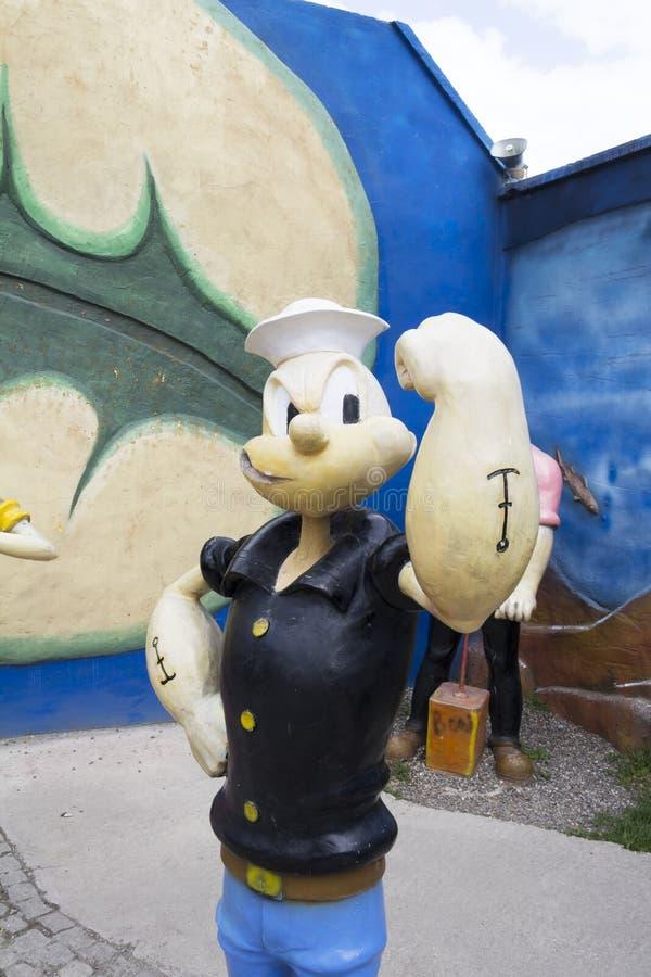 Popeye雕塑 库存图片