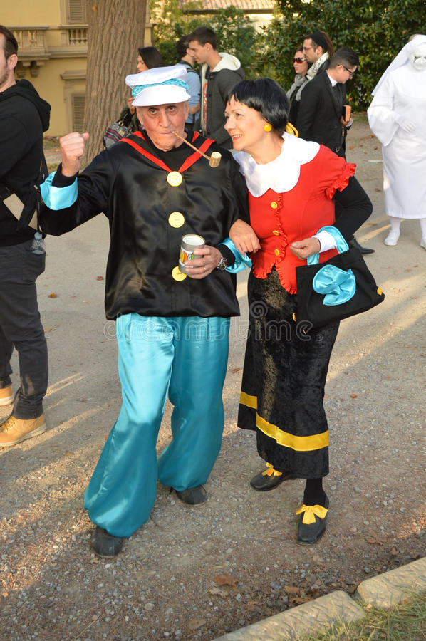 Popeye and Olive at Lucca Comics and Games 2014 royalty free stock photos