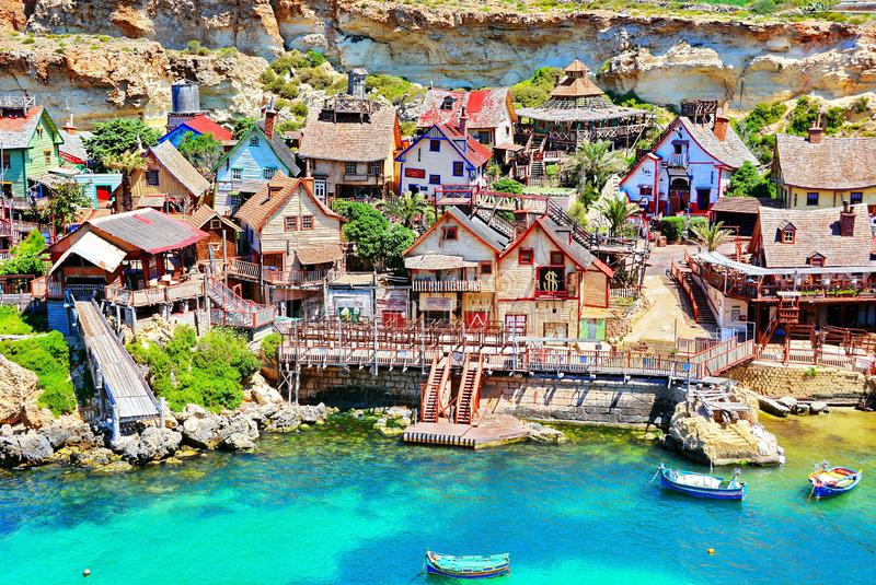 Popeye Village in Malta. Panoramic view of the famous Popeye Village in Malta stock images