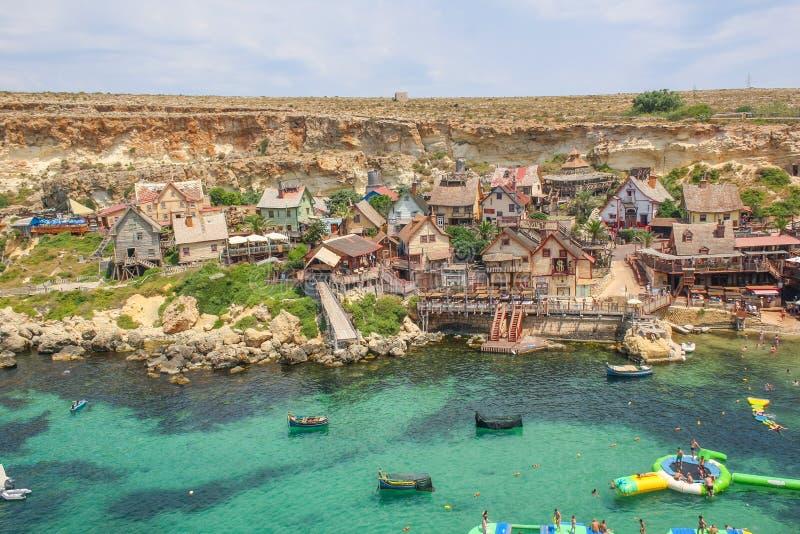 Popeyedorp op een zonnige dag Beroemde aantrekkelijkheid en openluchtmuseum op het eiland van Malta royalty-vrije stock foto