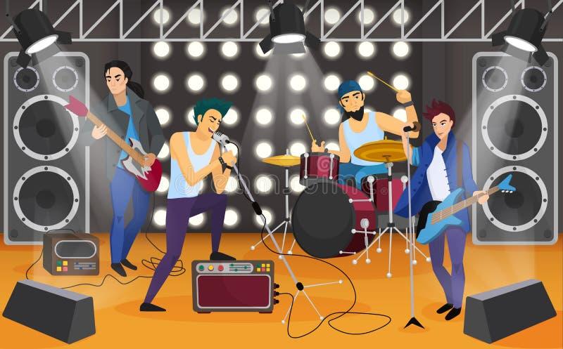 Popgroep op het stadium De muzikale vectorillustratie van het groepsbeeldverhaal stock illustratie