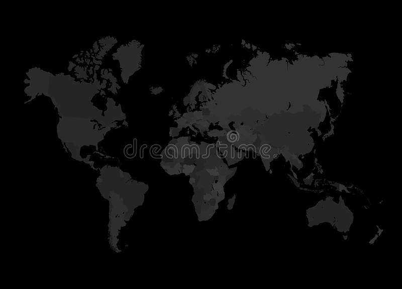 Popielata Światowej mapy ilustracja royalty ilustracja