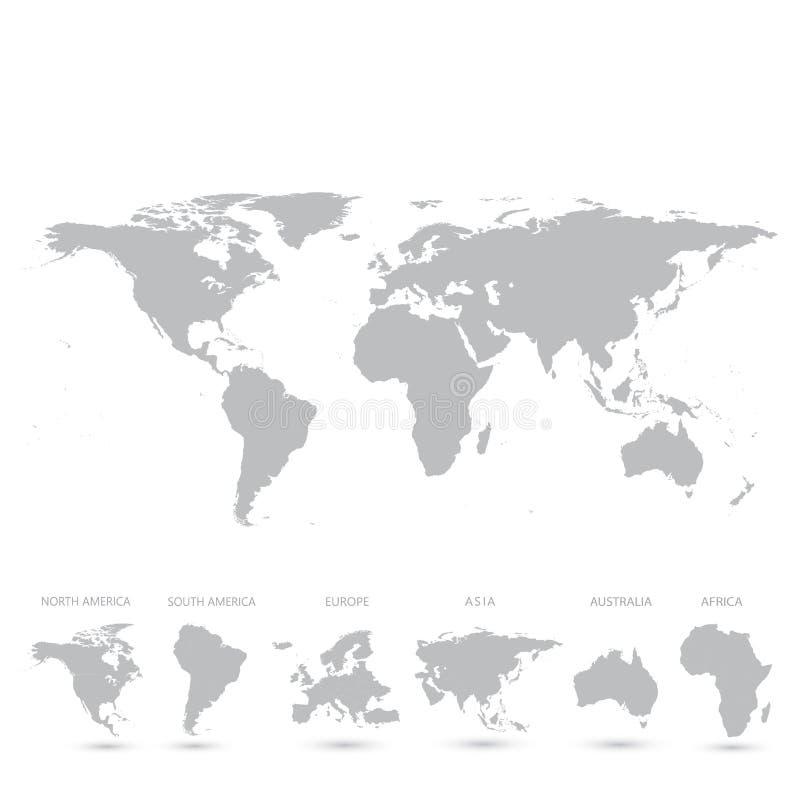 Popielata Światowej mapy wektoru ilustracja ilustracja wektor