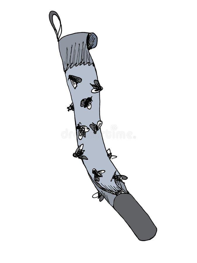 Popielata adhezyjna taśma zwalcza gniewanie komarnicy przyciągać one i chwytać one na swój kleistej powierzchni, dokąd komarnicy ilustracji