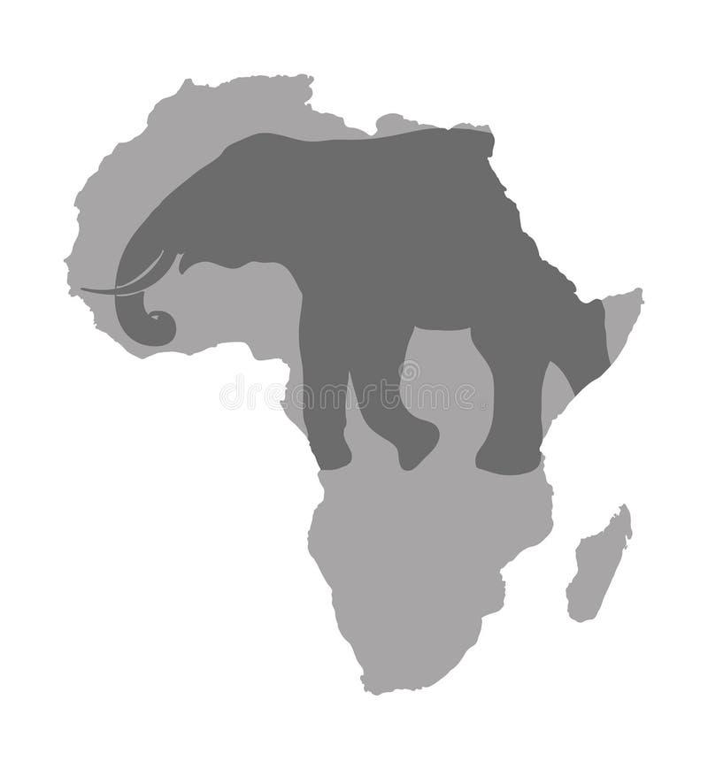 Popielata Africa mapa odizolowywająca na przejrzystym tle Światowa wektorowa ilustracja bez teksta royalty ilustracja