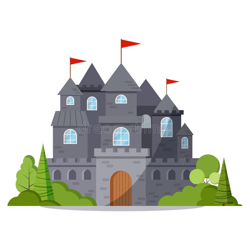 Popielata kamienna kreskówki bajki kasztelu wierza ikona z zielonymi drzewami i krzakami, czerwona flaga ilustracji