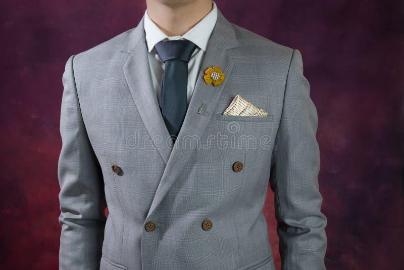 Popielata kostium szkockiej kraty tekstura, podwaja breasted obrazy royalty free
