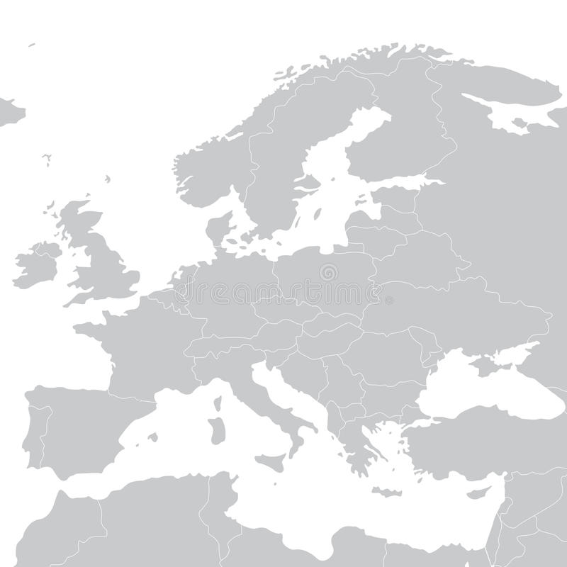Popielata polityczna mapa Europa również zwrócić corel ilustracji wektora royalty ilustracja