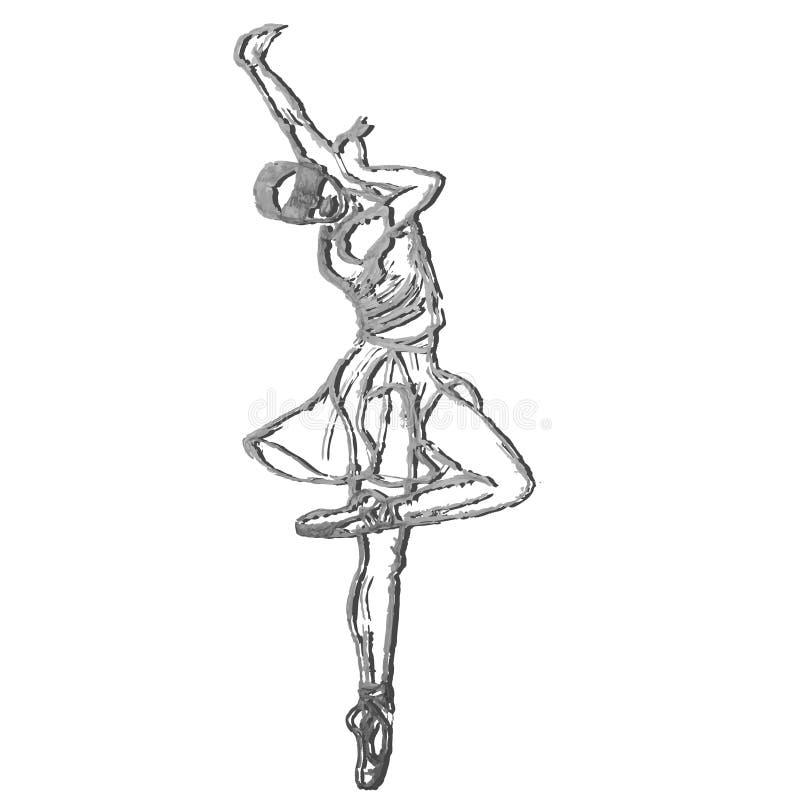 Popielata sylwetka niewidoma dancingowa dziewczyna na Białym tle Baleta tancerz ilustracja wektor