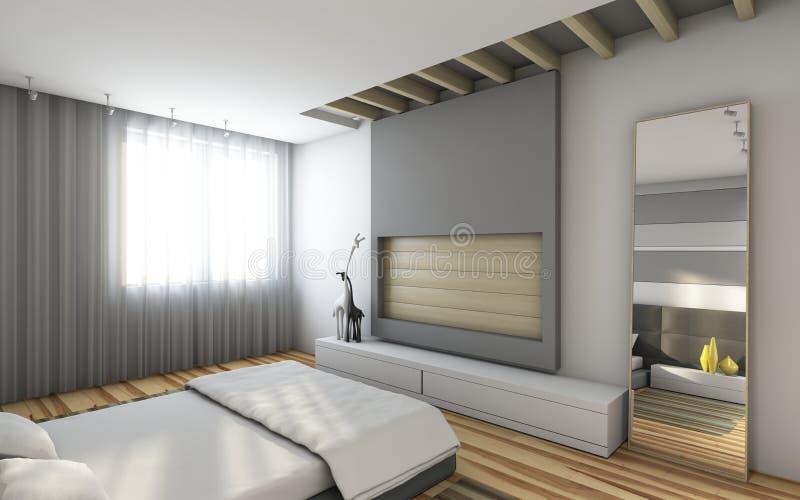 Popielata sypialnia ilustracji