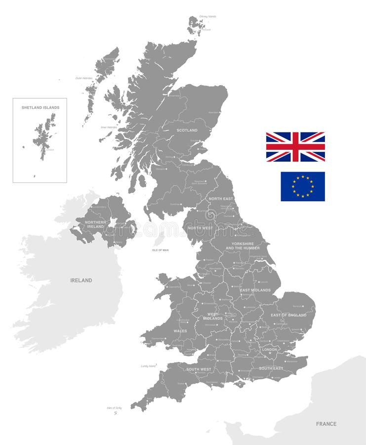 Popielata Wektorowa Polityczna mapa UK royalty ilustracja