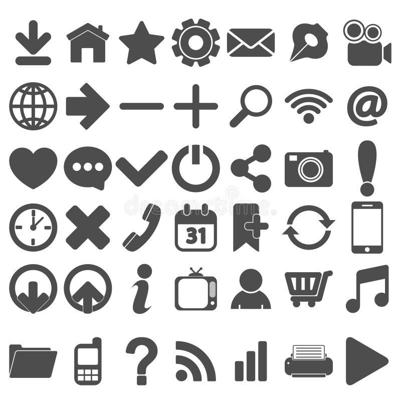 Popielate sieci ikony Ustawiać na bielu ilustracji