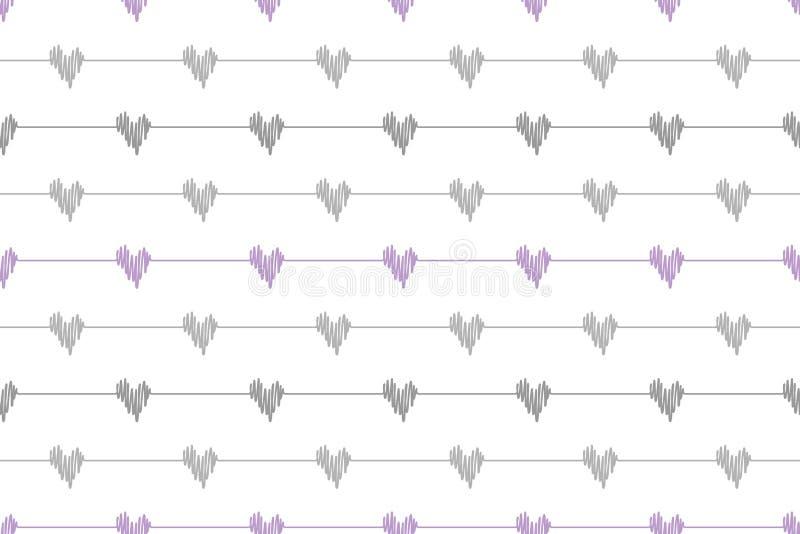 Popielatego doodle linii serc falowego ugięcia bezszwowy wzór na białym tle ilustracja wektor