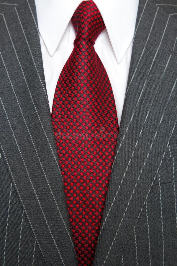 popielatego prążka czerwony kostiumu krawat fotografia stock