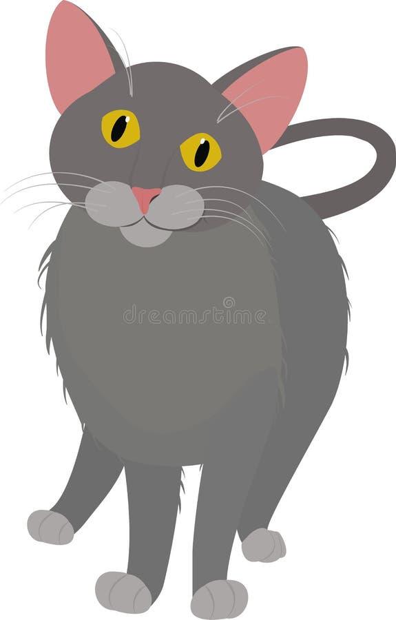 Popielatej kreskówki domowy kot z żółtymi oczami odizolowywającymi na bielu, ilustracji