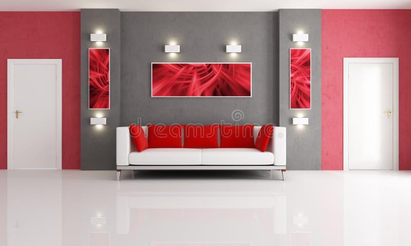 popielaty żywy czerwony pokój ilustracja wektor