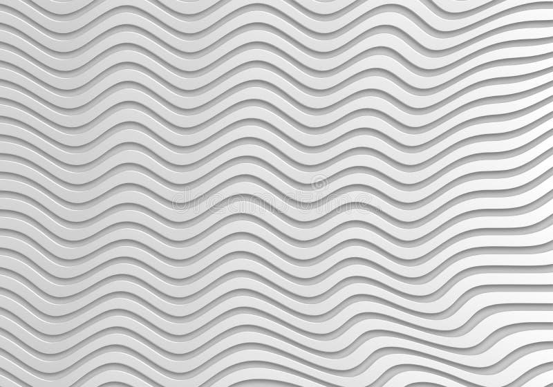 Popielaty abstrakt fala 3d Bezszwowy tło royalty ilustracja
