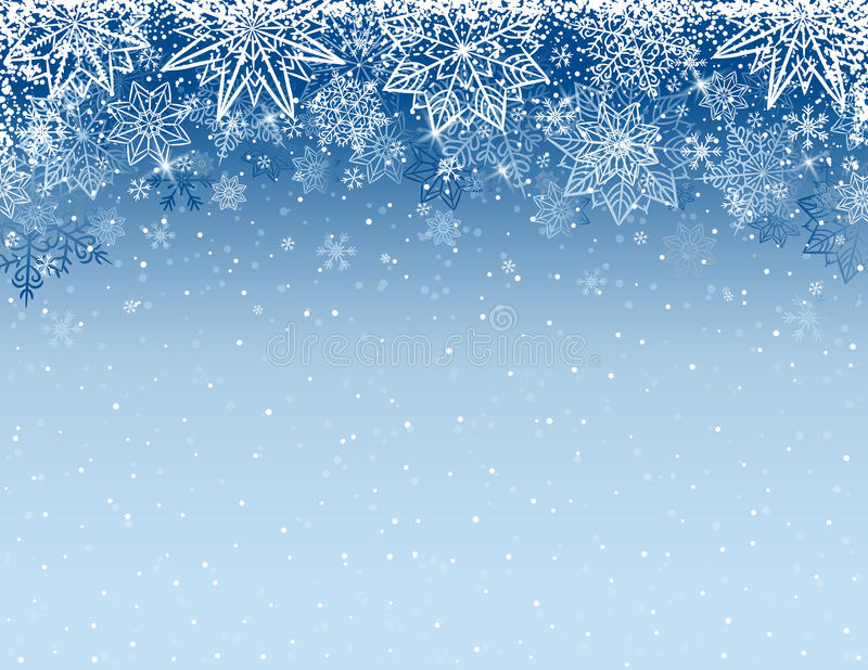 Popielaty bożego narodzenia tło z płatkami śniegu i gwiazdami, wektor ilustracji