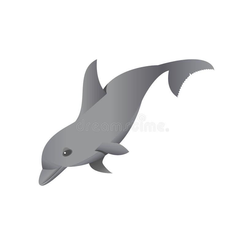 Popielaty delfin na bielu royalty ilustracja