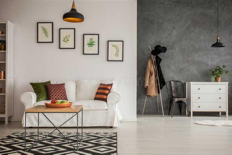Popielaty i biały mieszkanie obrazy stock