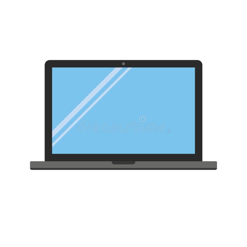 Popielaty i czarny koloru mieszkania stylu laptopu notatnik z kamerą, pusty błękitny ekran z świecenie wektorem eps10 royalty ilustracja