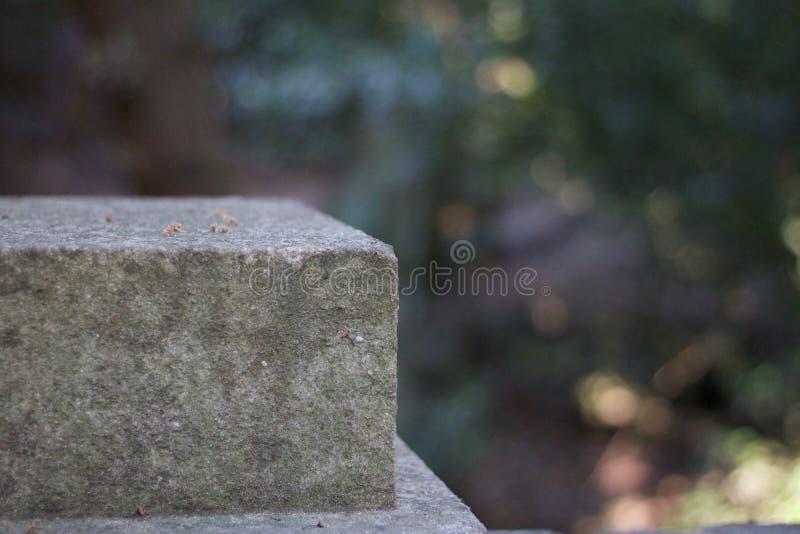 Popielaty kamienny filar z miękkiej części zieleni tłem obraz royalty free