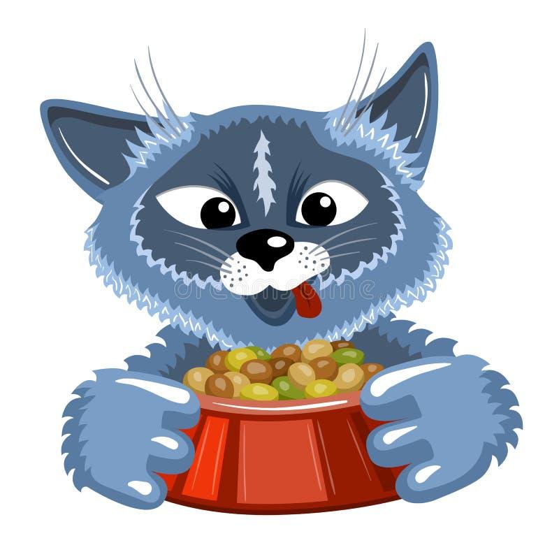 Popielaty kot z pucharem jedzenie ilustracja wektor