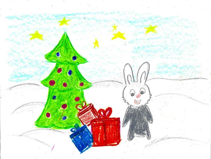 Popielaty królik bierze teraźniejszość i choinki, dziecko rysunek ilustracja wektor