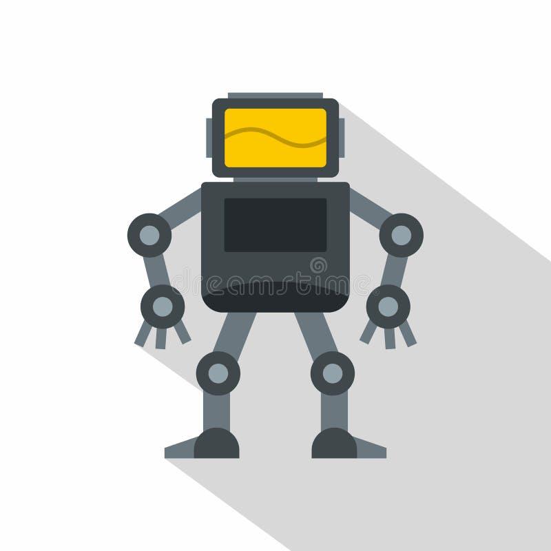 Popielaty robot z monitor głowy ikoną, mieszkanie styl ilustracji