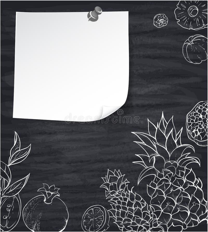 Popielaty tło z białymi tropikalnymi owoc royalty ilustracja