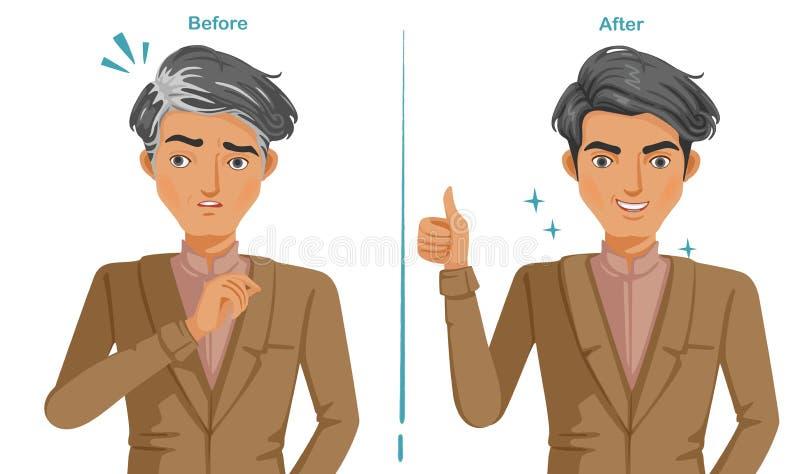 popielaty włosy ilustracja wektor