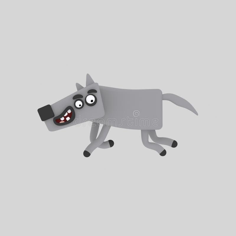Popielaty wilk biega out 3D ilustracja wektor