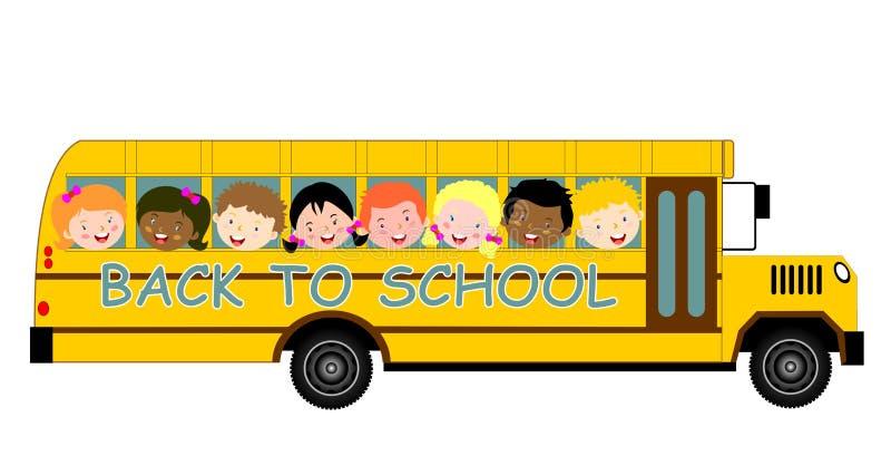 Popiera autobus szkolny i dzieci royalty ilustracja