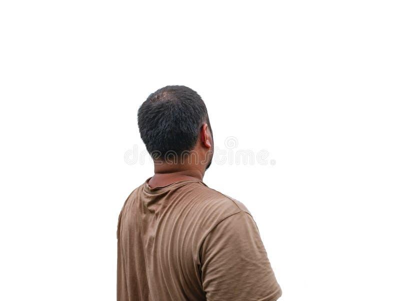 Popiera Azjatycki sadło i Mały łysy mężczyzna z potem na jego koszulce zdjęcie royalty free
