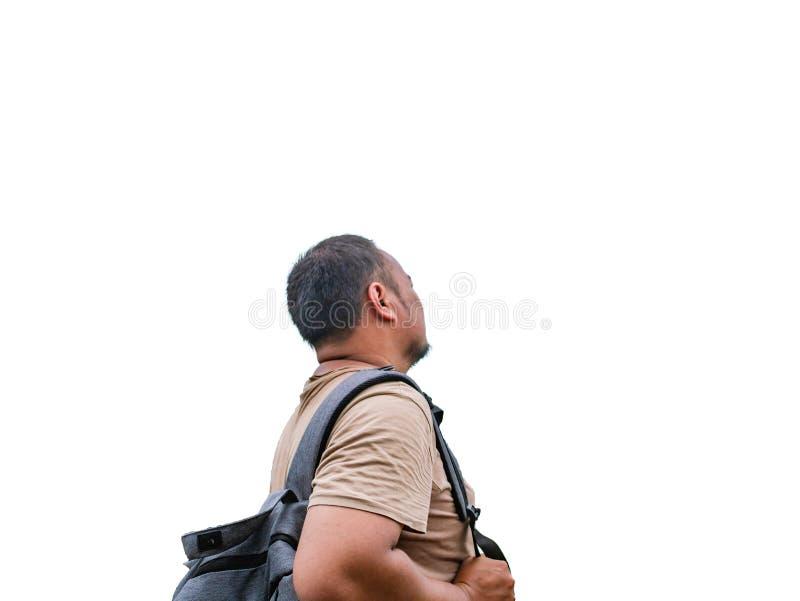 Popiera azjatykci gruby backpacker na białym tle fotografia royalty free