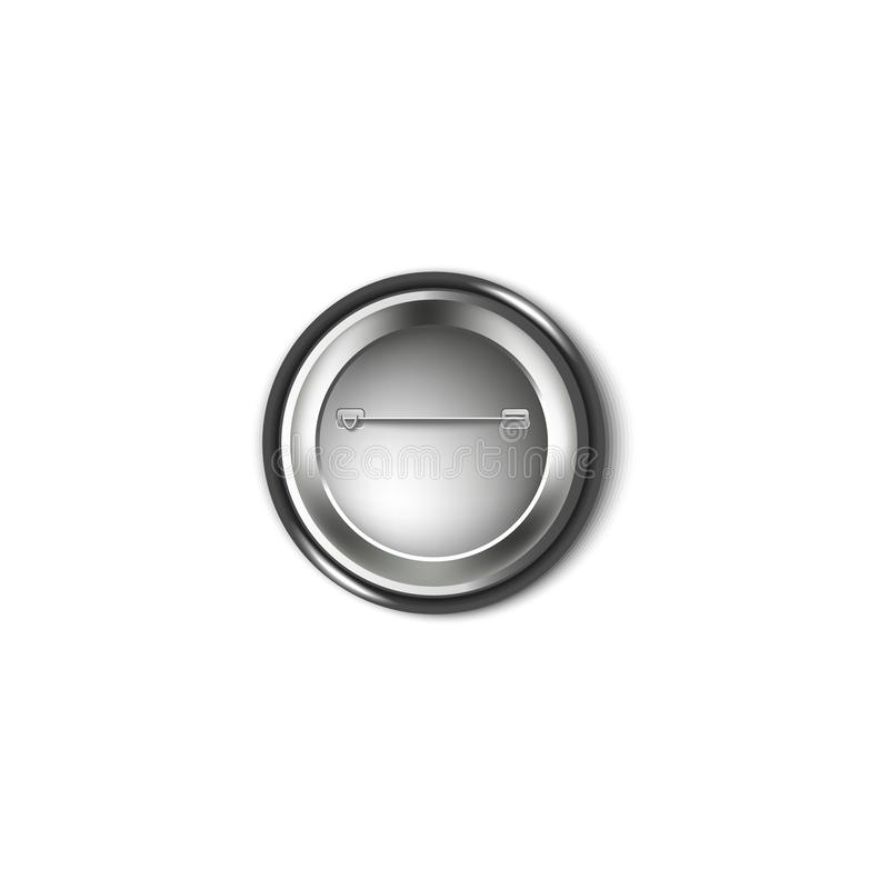 Popiera czarna plastikowa guzik szpilka, kruszcowa strona round broszka z igłą i uczepienie haczyk, ilustracji