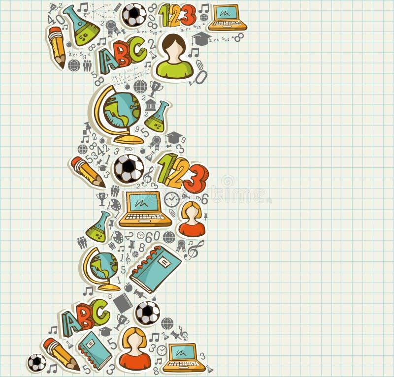 Popiera edukaci szkolnej kreskówki ikony. ilustracja wektor