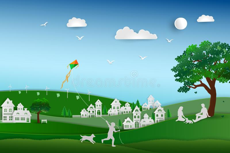 Popiera natura, save środowiska pojęcie i relaksuje w łące, rodzinna miłość psi szczęśliwy, papierowy sztuka projekt royalty ilustracja