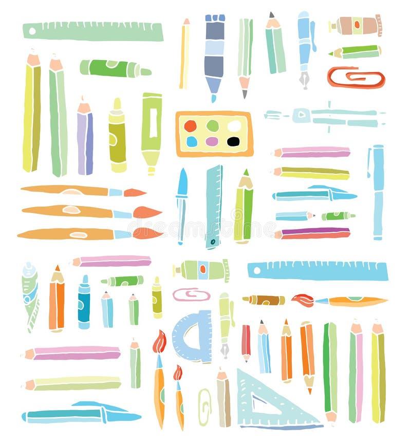 Popiera szkół doodles elementy, set etykietki i ikony, również zwrócić corel ilustracji wektora czerń royalty ilustracja