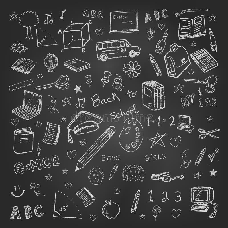 Popiera szkół doodles w chalkboard tle ilustracja wektor