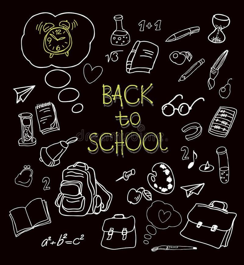 Popiera szkół doodles w chalkboard tle royalty ilustracja