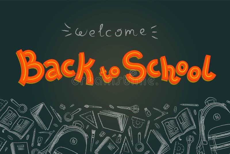Popiera szkół doodles w chalkboard tle Konturu styl ilustracji