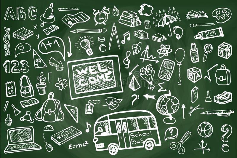 Popiera szkół dostaw chalkboard Szkicowi Doodles royalty ilustracja