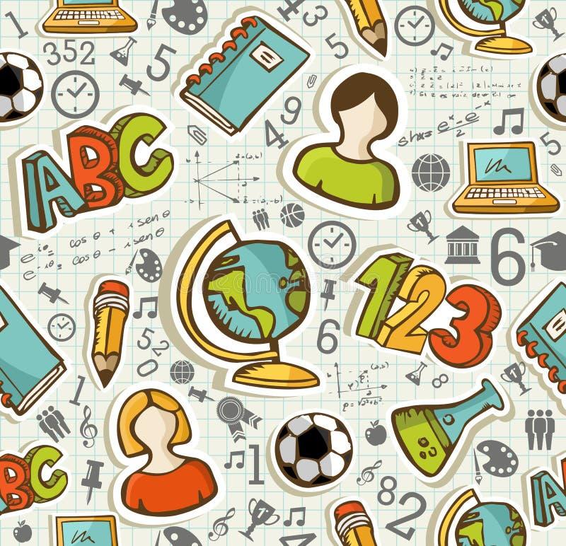 Popiera szkół ikon edukaci bezszwowy wzór. royalty ilustracja