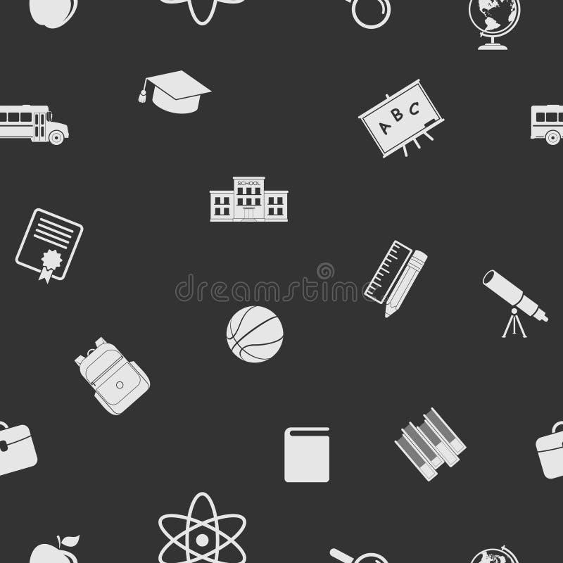Popiera szkół ikony bezszwowe wzór Edukacja zmroku tło ilustracja wektor