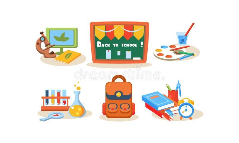 Popiera szkół ikony ustawiać, różne szkolne dostawy, materiały, edukacja, uczy się pojęcie wektorową ilustrację na a royalty ilustracja