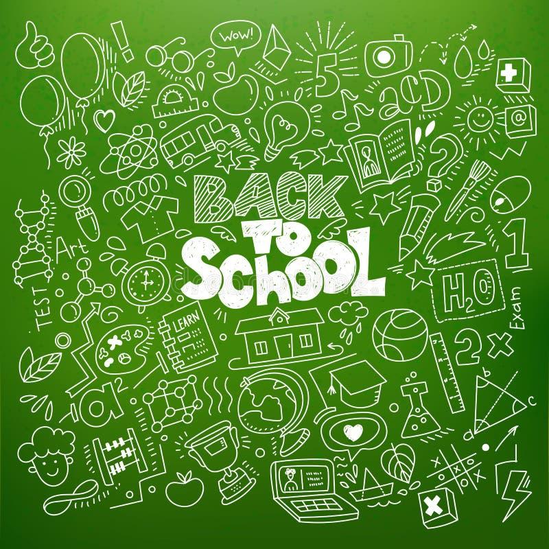 Popiera szkół liniowi doodles ilustracja wektor