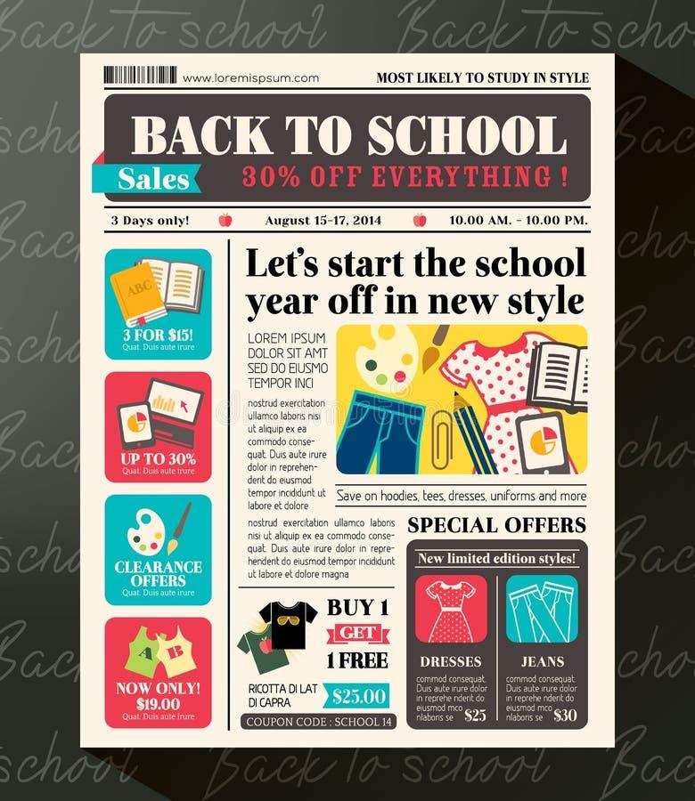 Popiera szkół sprzedaży projekta Promocyjny szablon w gazecie royalty ilustracja